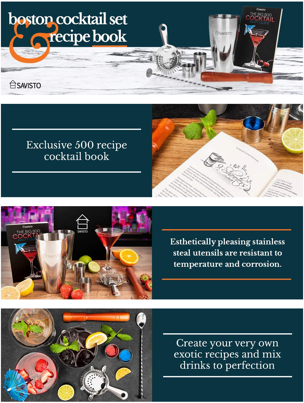 Screenshot_2018-12-17-Savisto-Premium-8-Piece-Cocktail-Set-With-Boston-Cocktail-Shaker-Glass-500-Recipe-Cocktail-Book-25... Premium 8 Piece Cocktail Set With Boston Cocktail Shaker