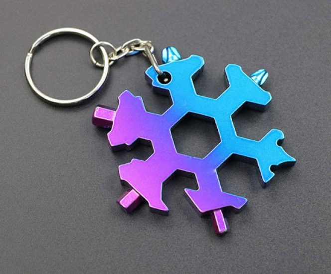 Stainless Multi-Tool Keychain , 18-in-1 Snowflake