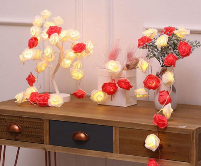Red-White Rose Flower Indoor Fairy Lights (20 LEDs, Battery Operated)