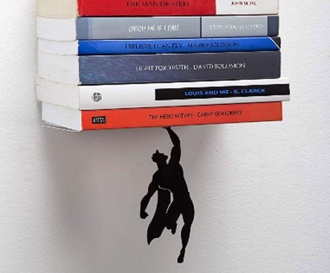Black Metal Superhero Floating Bookshelf
