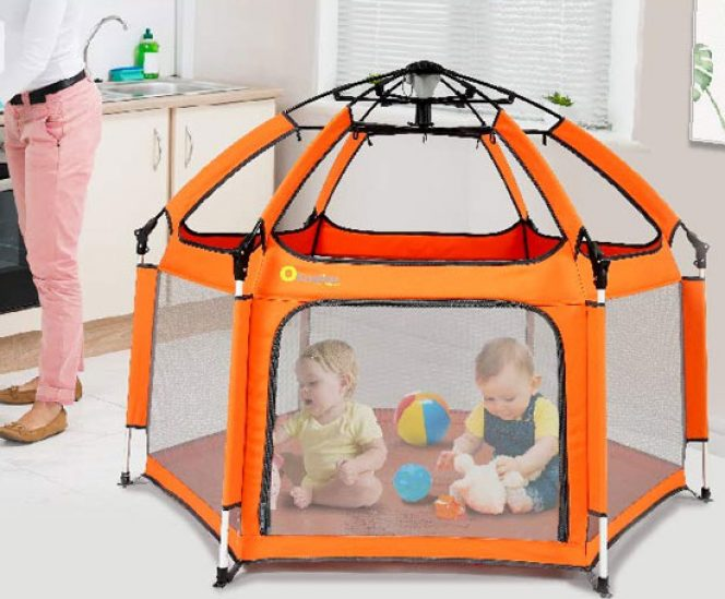 Pop-n-Play Foldable Baby Playpen with UV Canopy