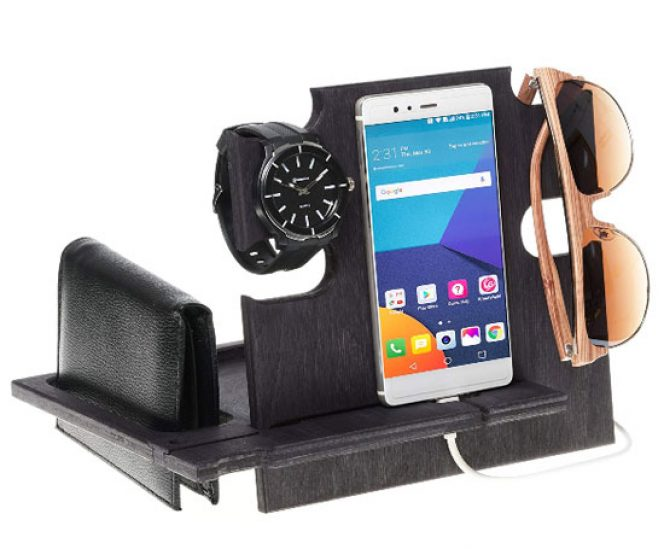 Docking Station for smartphone, wallet, watch and glasses