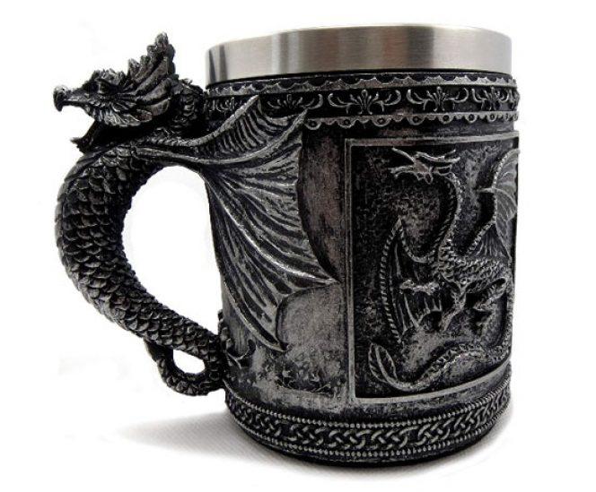GOT Style Stainless Steel and 3D Resin Dragon Mug