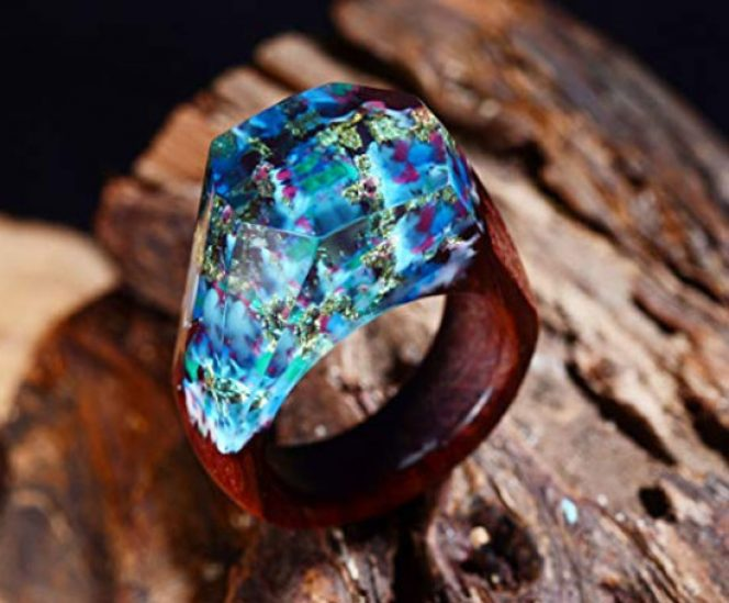 Handmade Wood Resin Ring with Landscape Inside