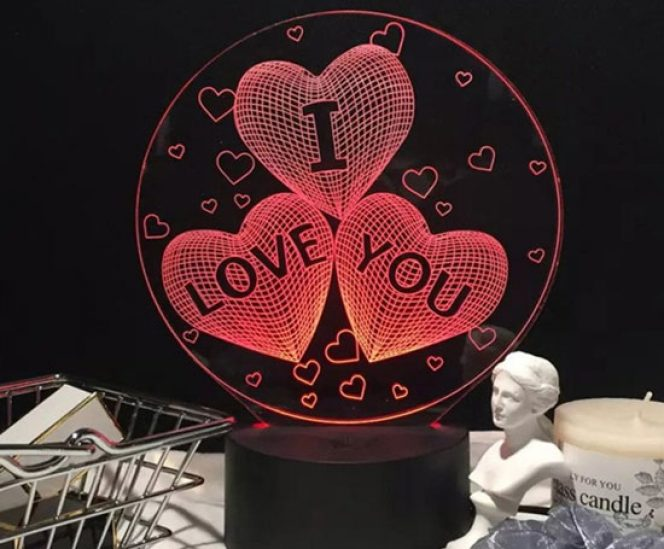 I Love You Heart LED 3D Night Light