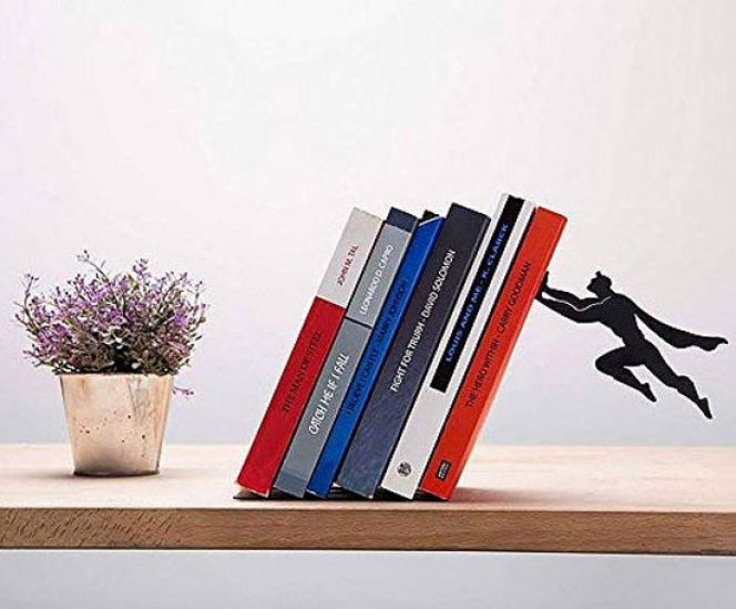 Black Metal Magnetic Superhero Bookend