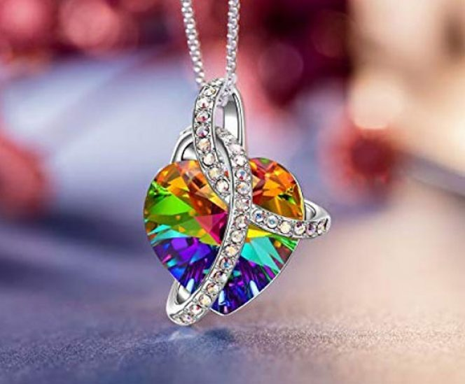 Love Heart Necklace with Swarovski Crystals