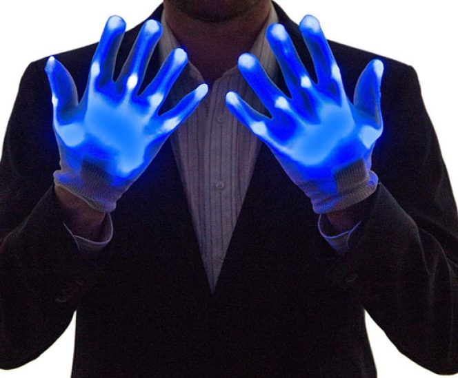 Light Up Gloves Led One Size Blue