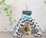 Teepee Tent for Dog or Cat (28 inch, Natural Canvas)