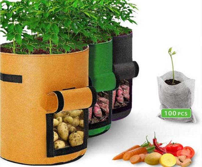 Vegetables Grow Bags with Window (3 Pack + 100Pcs Seedling Bags)