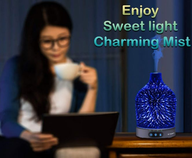 Unique 3D Effect Aromatherapy Ultrasonic Diffuser with 24 Colors Changing (200ml)