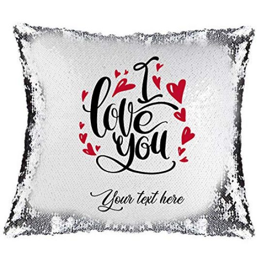 Magic Sequin Pillow Cover – I Love You + Personalised text