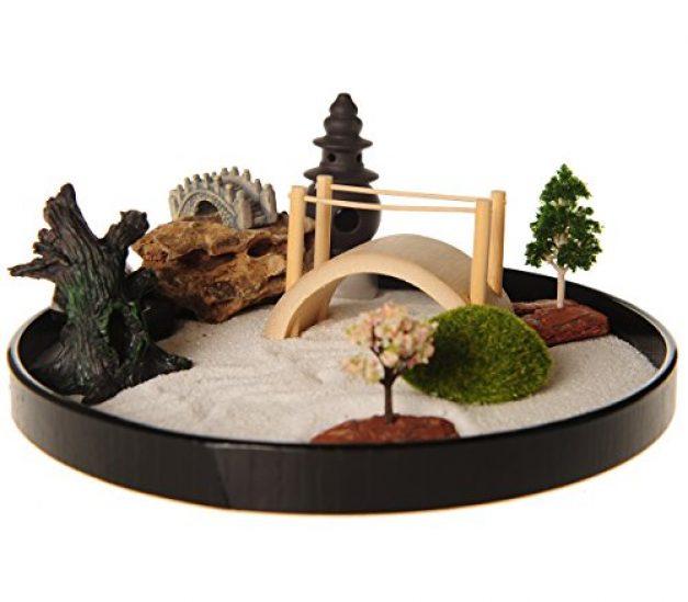 Desktop Japanese Zen Garden with Free Rake Pushing Sand Pen