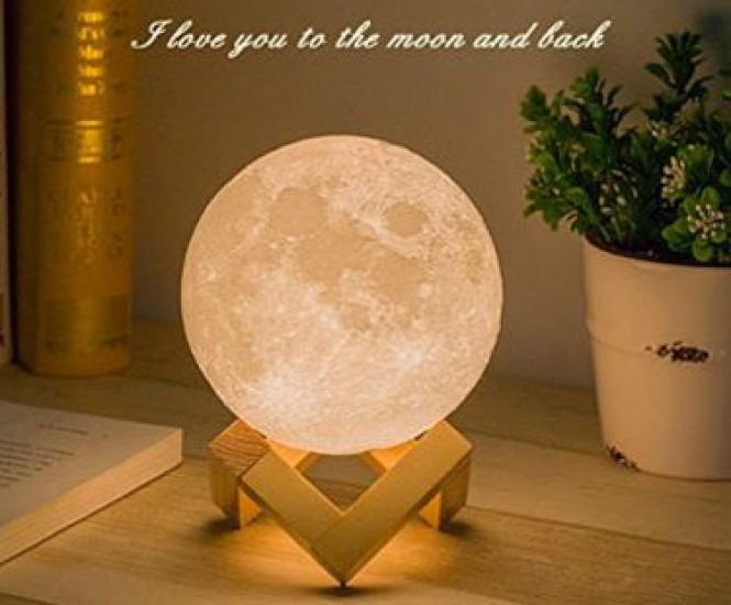 Moon Lamp 3D – Night Light with Touch Control Brightness (4.7 inch)